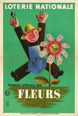 Vintage Poster. Loterie Nationale Fleurs
