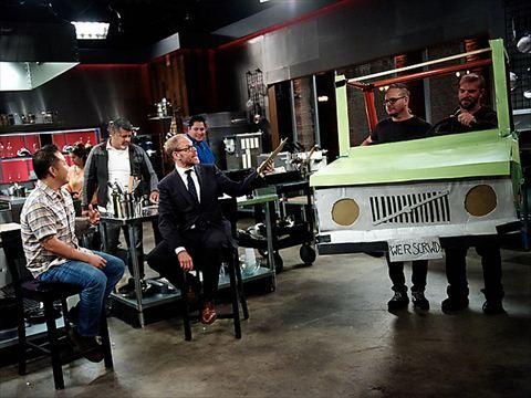 """Alton's After-Show Videos : Chef Jet Tila plays Alton Brown in a riveting game of """"Donuts on a String"""" on the Cutthroat Kitchen After-Show on 3rd May 2015."""