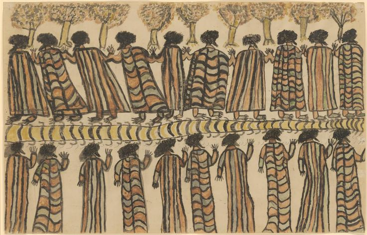 'Figures in possum skin cloaks', 1898, by William Barak [Wurundjeri (c.1824–1903)], National Gallery of Victoria. Possum skin cloaks/rugs were commonly bought by diggers from local indigenous people (in NE Vic, from inhabitants of the Tangambalanga reserve).