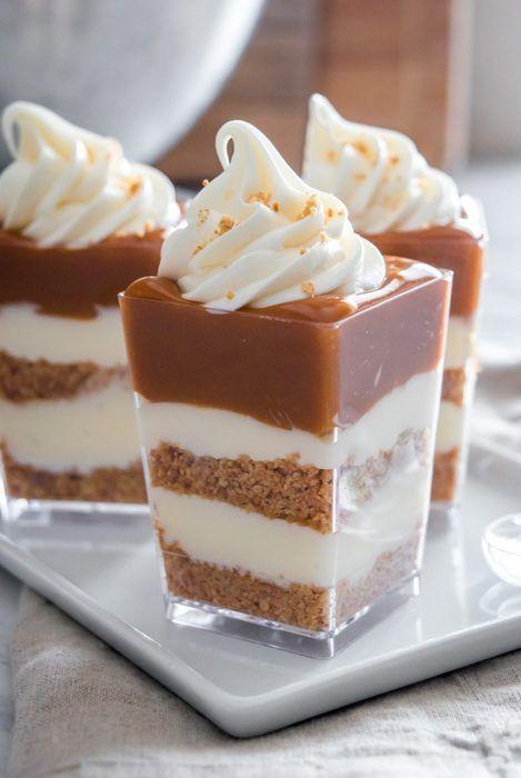 no bake caramel cheesecake shooters   25+ salted caramel desserts