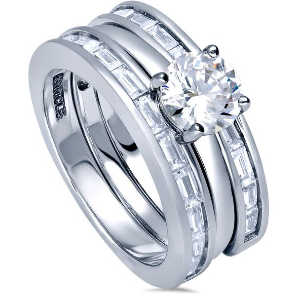 BERRICLE Sterling Silver Round CZ Solitaire Engagement Ring Set 1.99... ($140) ❤ liked on Polyvore featuring jewelry, rings, 3 piece ring set, clear, women's accessories, cubic zirconia wedding rings, wedding band rings, cz wedding rings, wedding rings and sterling silver cz rings