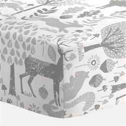 Gray Woodland Animals Crib Sheet 250x250 image