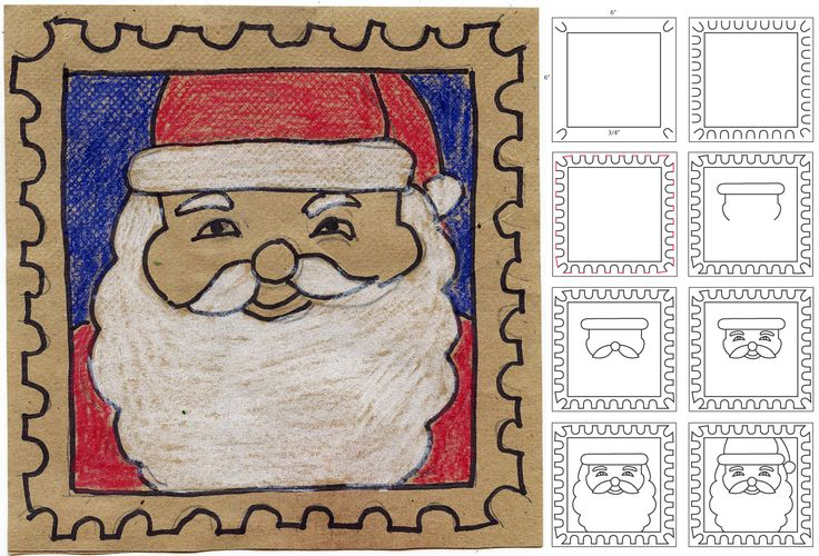 How to draw Santa. Art Projects for Kids