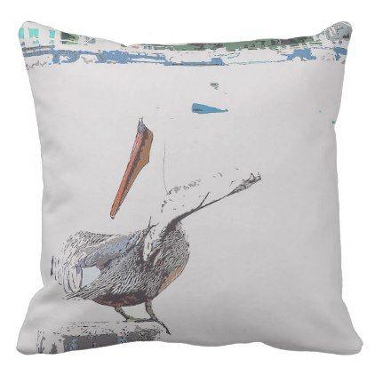 Brown Pelican Bird Wildlife Animal Throw Pillow - photography gifts diy custom unique special