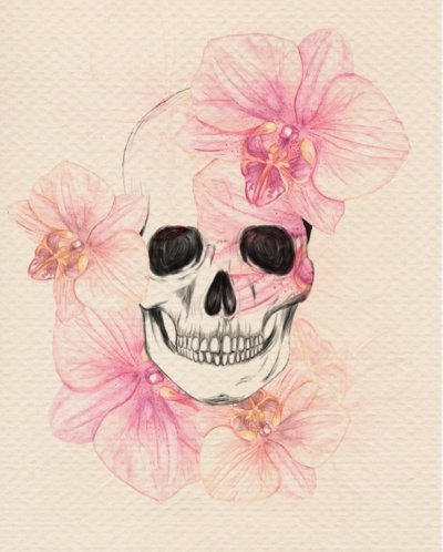 Skull and Flowers. The mouth is a little crazy but whatever lol