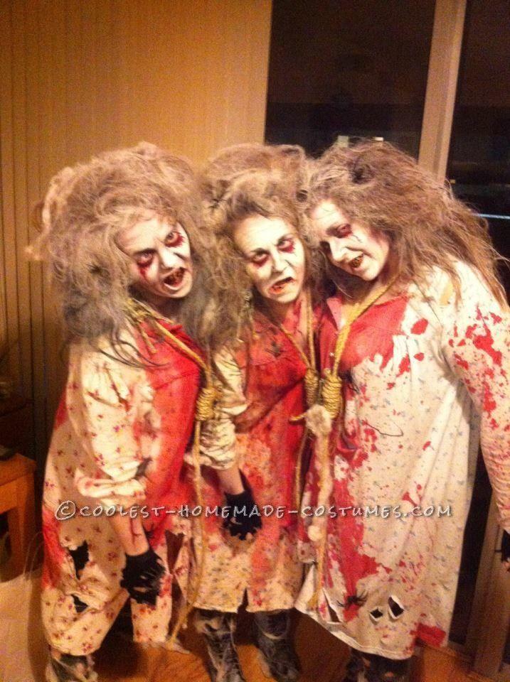 creepy zombie grannies homemade group costume - Scary Diy Halloween Costumes