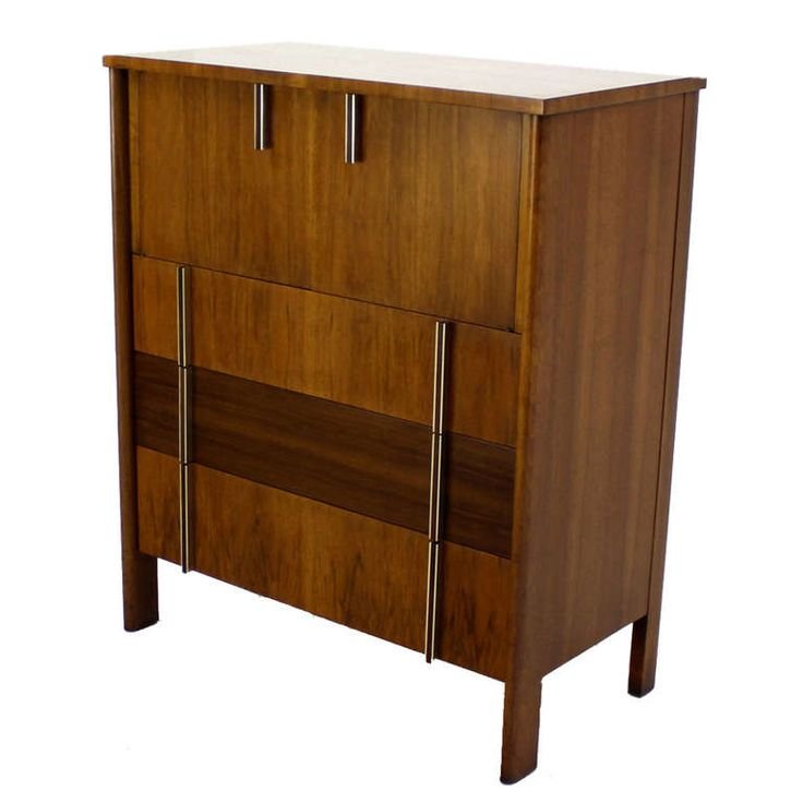 John Widdicomb Mid-Century Modern Walnut High Chest Dresser | From a unique collection of antique and modern commodes and chests of drawers at https://www.1stdibs.com/furniture/storage-case-pieces/commodes-chests-of-drawers/