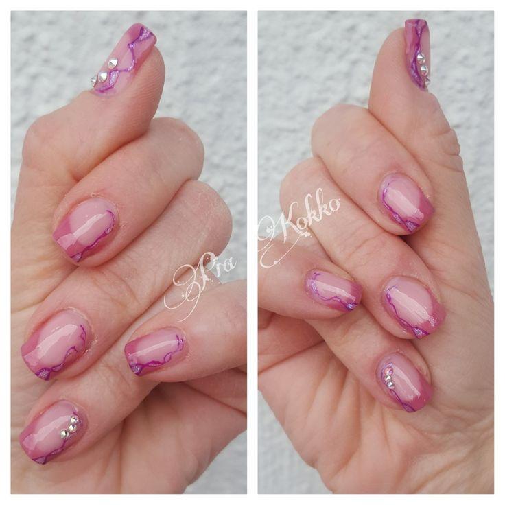 #oldrose #violetfusion #violetveil #abswarovski #uvgel #nailart #passionfornails