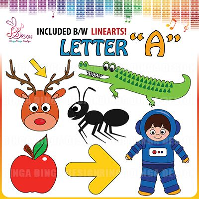 phonics beginning sound letter A clip art
