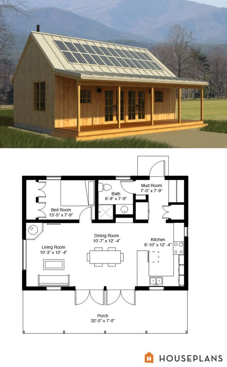 Cabin Style House Plan 1 Beds 1 Baths 704 Sq Ft Plan 497 14 House Plans Tiny House Plans Small House Plans