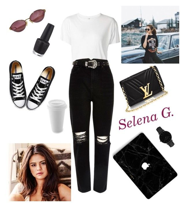 """Obsessed 😎👸🎤🎬"" by evaskar on Polyvore featuring R13, Christian Dior, River Island, Converse, OPI and CLUSE"
