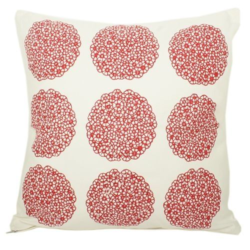White Cushion Cover With 9 Red Flower Medallion Print Design - Cushions - Product - Trade Aid