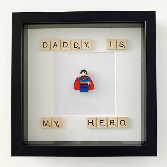 Hand made with love, lego frame. Personalised with Daddy My Hero!Scrabble art & Captian America. Mini figure can be swapped with other minifigures. SpiderMan Wolverine Superman Batman Thor Ironman Captain Strange War Machine Robin Captain America Hulk and many more, Message for other super heroes. Layouts can be altered as well to your desire. Scrabble letters can be changed both colour and wording to your choice. If you also have any other requests please message me.