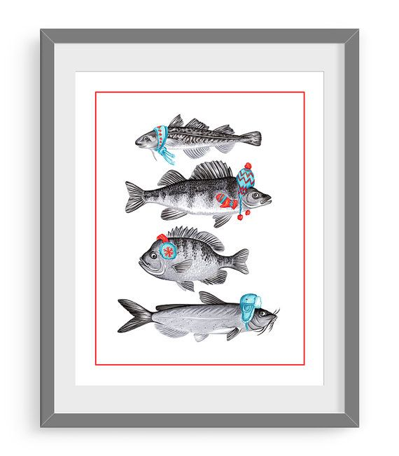 Chilly fish print winter fish print tomcod perch by AmelieLegault