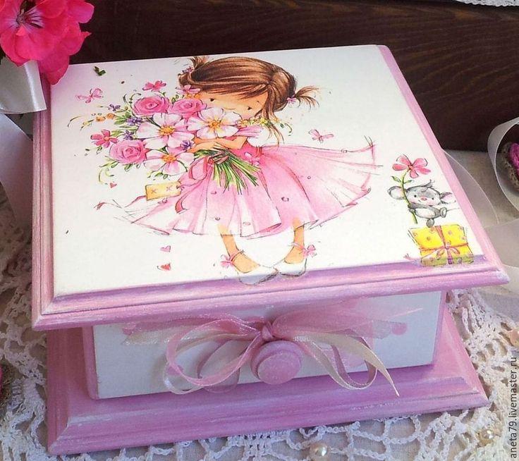 """Купить Шкатулка """"Малышка"""" - розовый, белый, шкатулка, шкатулка для украшений, шкатулка декупаж, шкатулки, для девочки"""