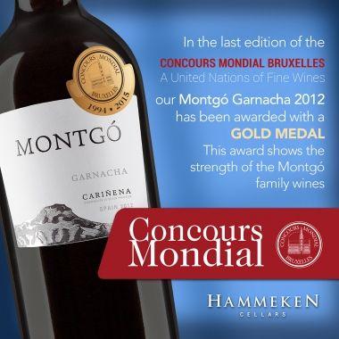 Montgó Garnacha Gold Medal in Concours Mondial Bruxelles   News & Events   Hammeken Cellars