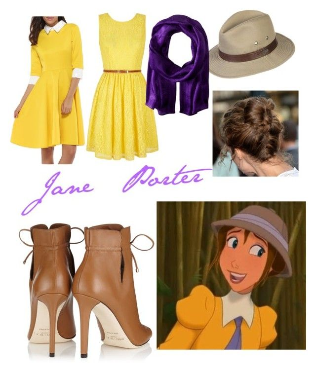 """""""Jane Porter Disneybound"""" by devih on Polyvore featuring Yumi, WithChic, Jimmy Choo, Overland Sheepskin Co. and Lauren Ralph Lauren"""