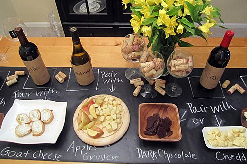 Chalkboard Contact Paper for a dinner party buffet: Wine Tasting, Wine Parties, Chalkboards Paintings, Chalk Boards, Tables Runners, Parties Ideas, Cheese Parties, Wine Cheese, Wine Pairings