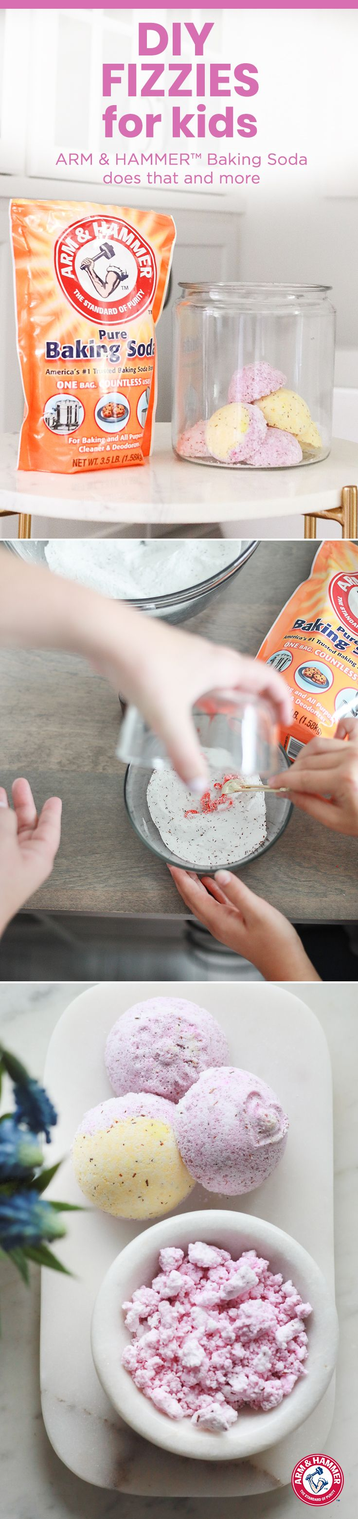 "Make bath time fun with fizzies! Step 1: Mix 2 tsp unsweetened lemon drink mix, 1 tsp flour or cornstarch, and 4 tsp ARM & HAMMER™ Baking Soda in a bowl. Step 2: Mix 4 tsp baby oil or mineral oil with 3-6 drops of food coloring in a separate bowl. Step 3: Slowly mix the colored mixture in the dry ingredients. Step 4: Make small 1"" balls of mixture.  Place on wax paper to dry. It takes 24-48 hours for fizzies to dry completely. Add fizzies to your regular bath - they make great gifts too!"