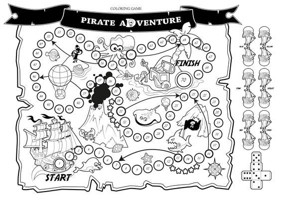 Coloring Board Game Pirate Adventure Printable Fun Story Etsy Pirate Adventure Pirate Maps Coloring Pages