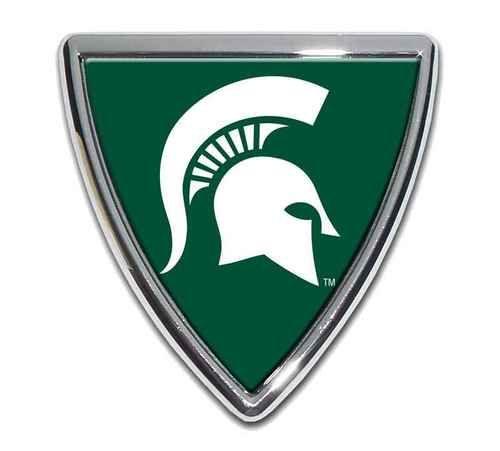 Michigan State University Spartan Shield Chrome with Color Car Emblem