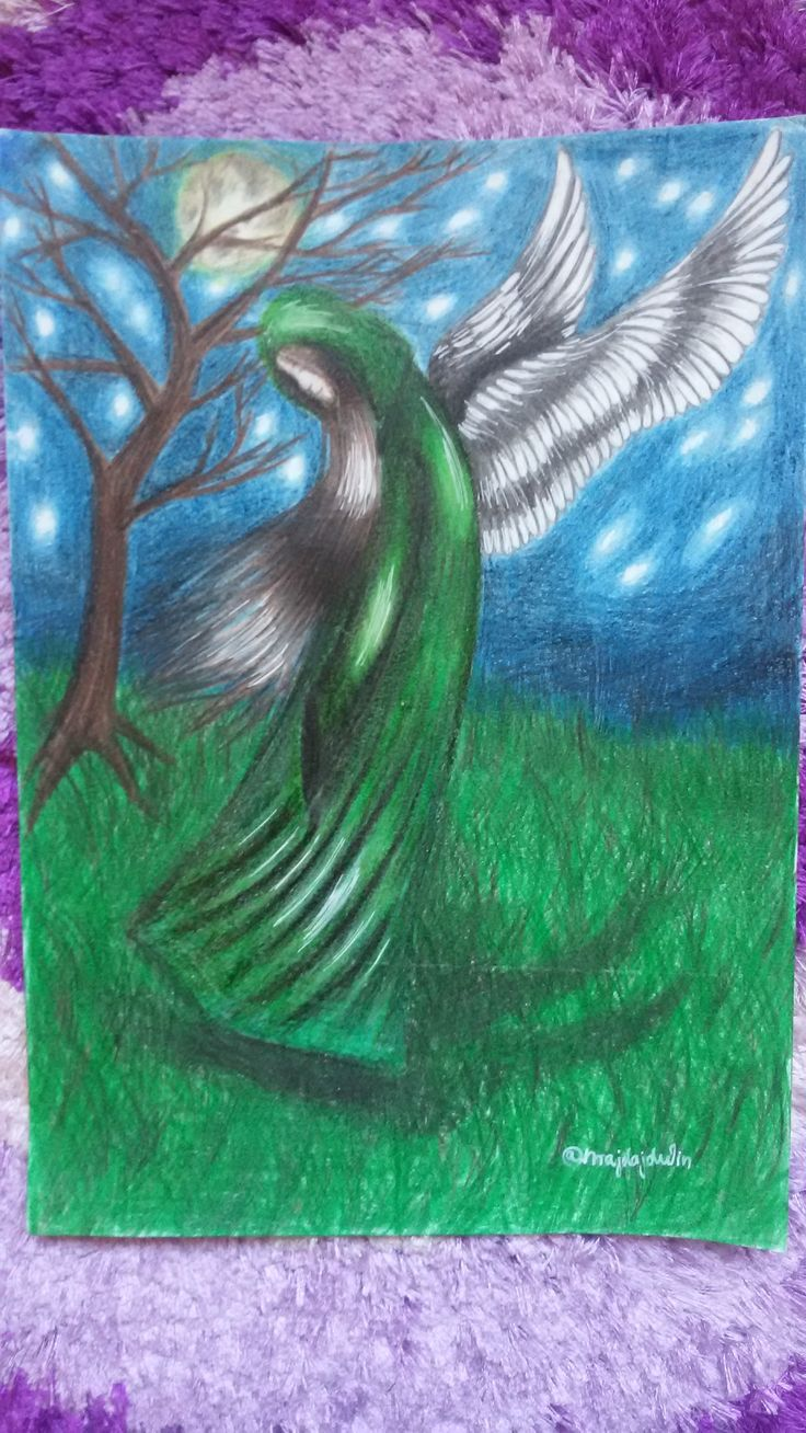 angel at night colour pencils A4