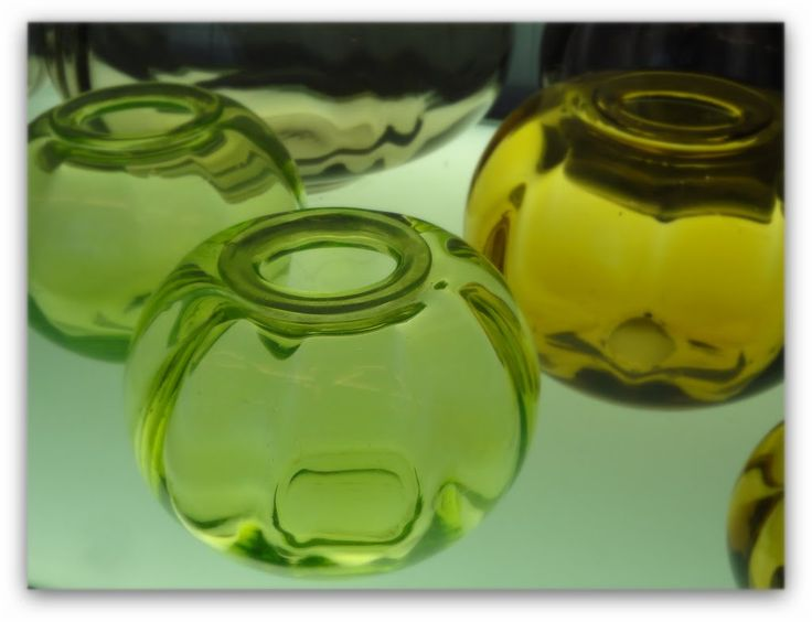 Small green vases, Museum of Glass, Leerdam.