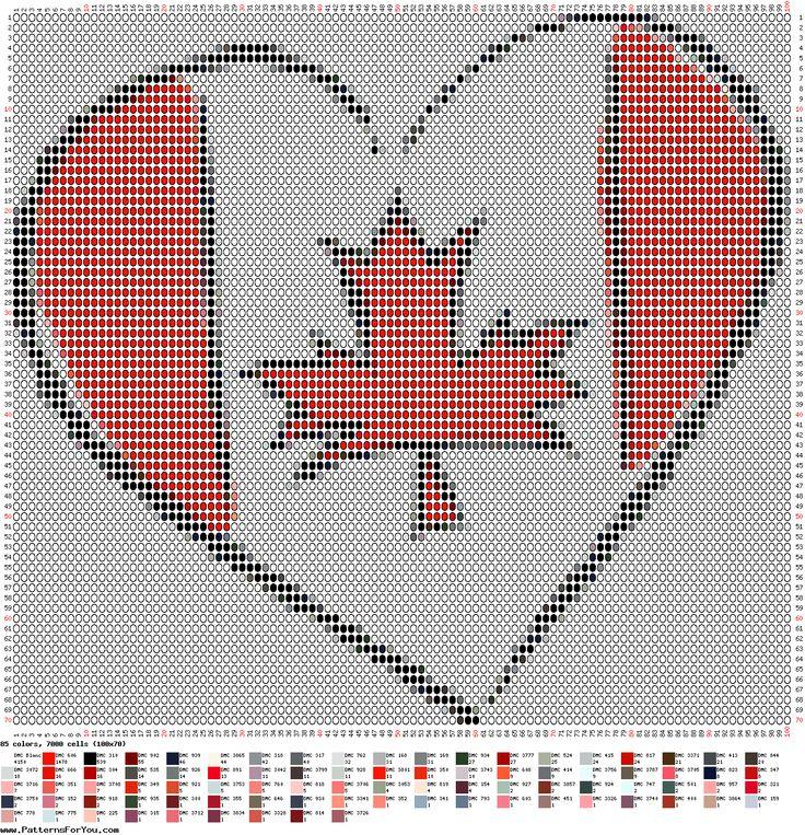 Beaded Canada Flag Heart PATTERN
