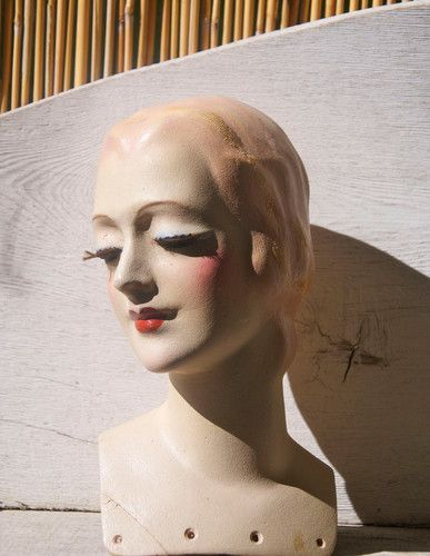 VINTAGE 30s MINIATURE FRENCH LADY STORE MANNEQUIN HEAD BUST ART DECO HAT DISPLAY   eBay