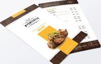 Projekt graficzny karty menu dla restauracji z okładka i różnymi wariantami ułożenia pozycji
