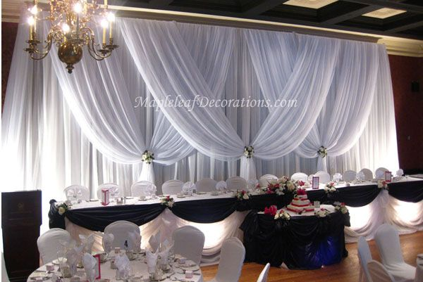 Toronto Wedding Decorations - Custom Backdrop and Head Table Draping Design by Mapleleaf Decorations in White sheer and Black Satin fabrics at The Old MIll BAnquet Hall. Contact us for more info www.MapleleafDecorations.com