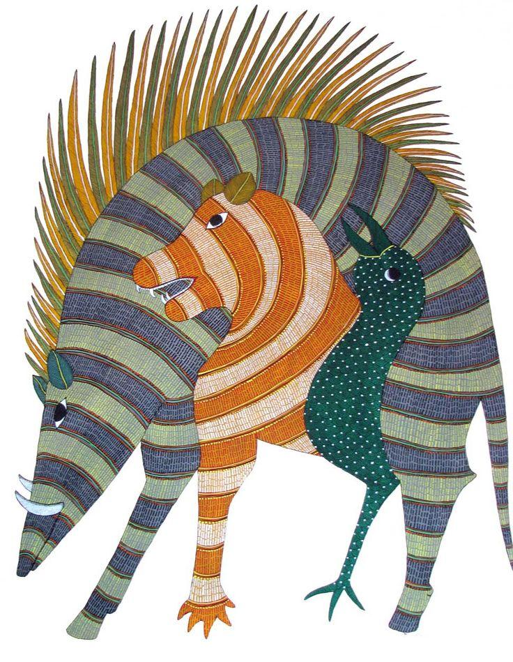 Indian Tribal Art | Gond painting from Madhya Pradesh, India | Rajendra Shyam, artist (?)