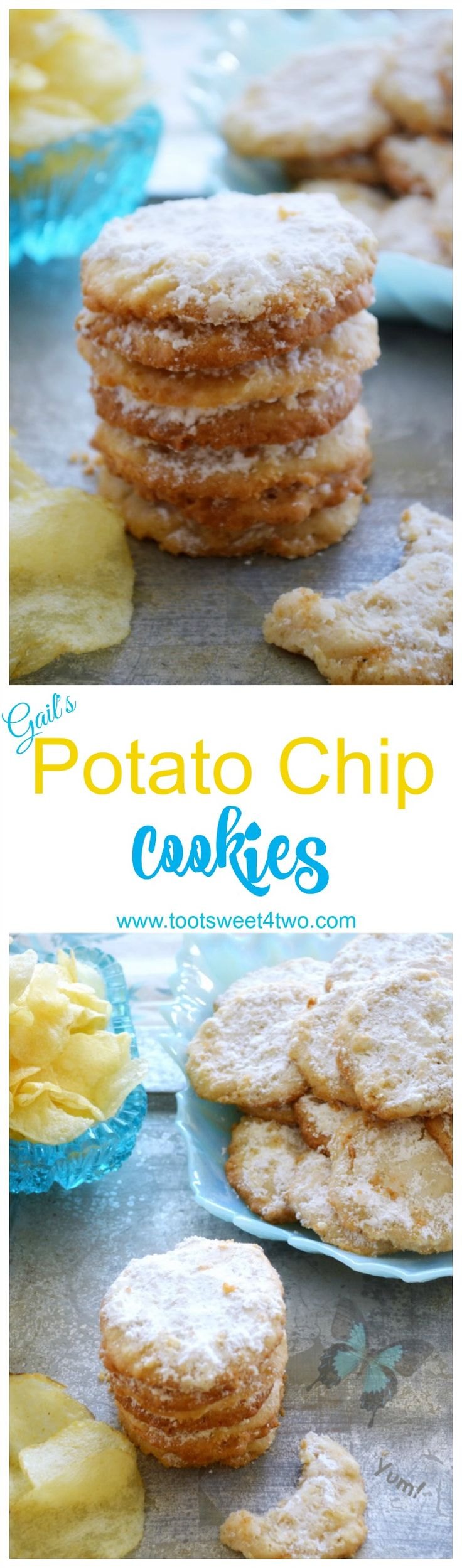 One of the best cookie recipes ever, Potato Chip Cookies are the perfect blend of sweet and salty. Made with Lays potato chips, these easy homemade cookies are sweet, buttery and delicious with just the right amount of salt. If you think your family already has a favorite recipe for cookies, think again! Addicting (in a good way), this potato chip cookie recipe will fast become a family favorite. Delicious any time of year, these cookies are perfect Christmas cookies to share...