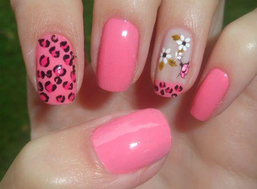 Nail Art: Rosa com Tigrado e borboleta
