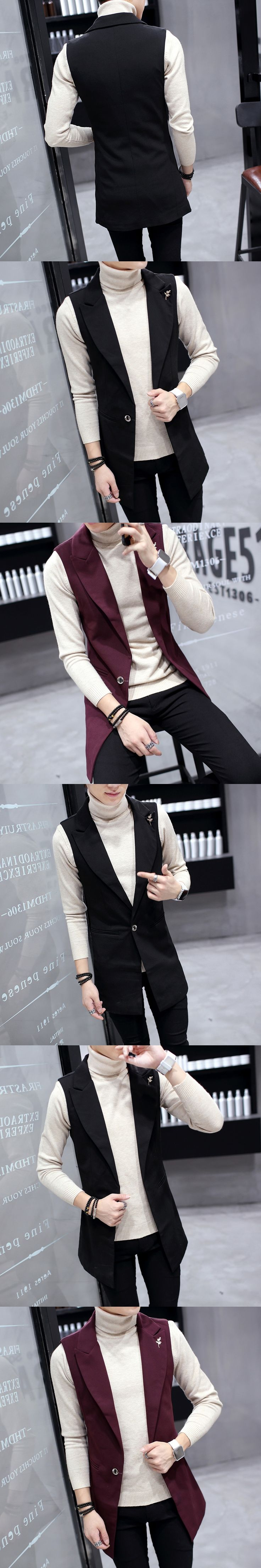New 2017 Mens slender Vests  Long section Vest one Buttons Wedding Prom Waistcoat Formal Business Vest Casual Wear