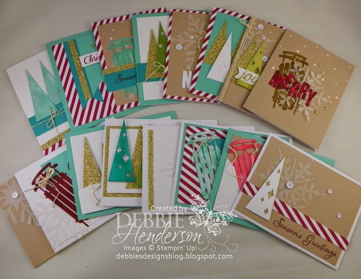 Stampin' Up! Watercolor Winter SImply Created Kit. I made 16 cards. Debbie Henderson, Debbie's Designs.