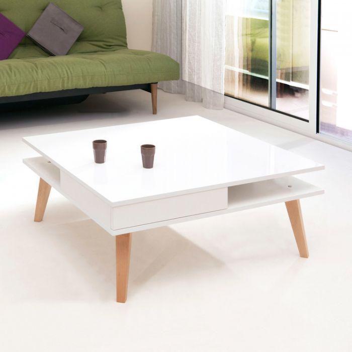 Table Basse Carree En Bois Laque Plateau Verre Polygon Delamaison Bon Shopping Com Table Basse Laquee Table Basse Table Basse Carree