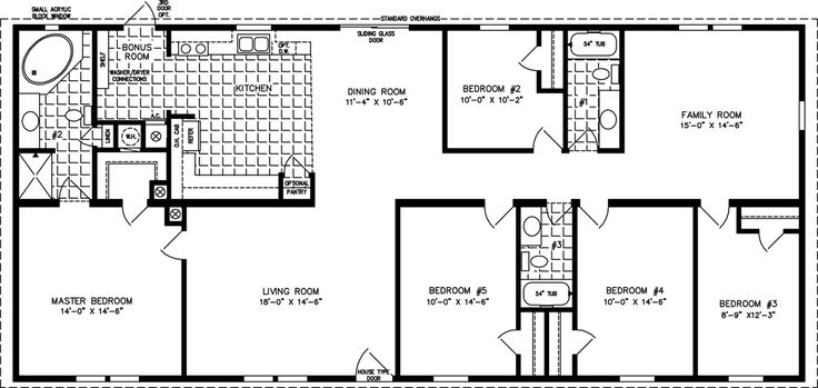 manufactored home layoutss | Bedroom Manufactured Homes | Five Bedroom Mobile Home Floor Plans ...