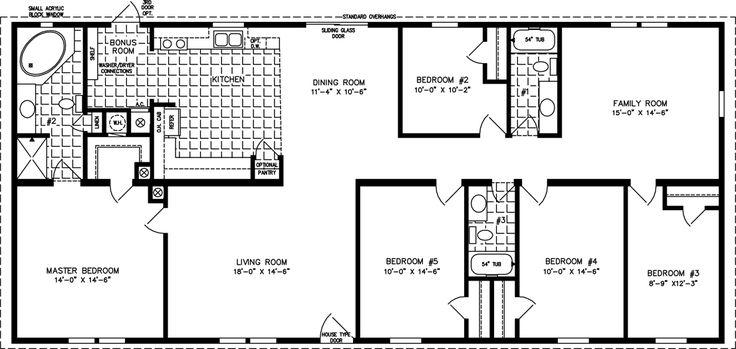 manufactored home layoutss | Bedroom Manufactured Homes | Five Bedroom Mobile Home Floor Plans ...