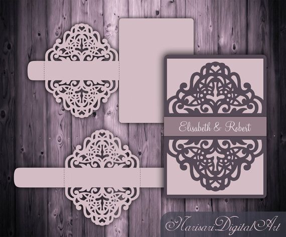 Laser cut Wedding Invitation Slide-in Card / Belly band Template, 5x7'' Quinceanera Invitation, SVG  cutting file, Silhouette Cameo, Cricut