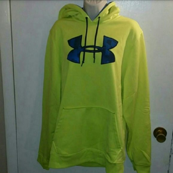 Women's neon under armour hoodie Women's neon yellow under armour hoodie sweat jacket with under armour down the back of hood inside of Hood is just like the front colors on logo blue and black worn 1 time like new Under Armour Tops Sweatshirts & Hoodies