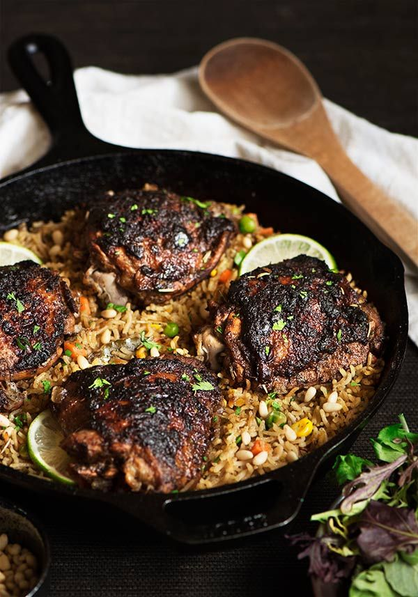 Tender & juicy chicken with spicy & slightly sweet flavor on an herbe...