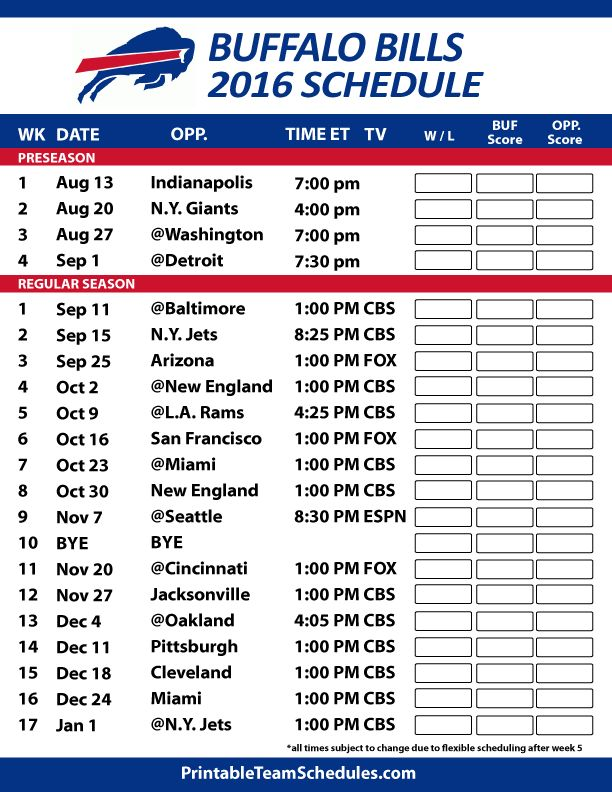 It is a photo of Satisfactory Buffalo Bills Printable Schedule