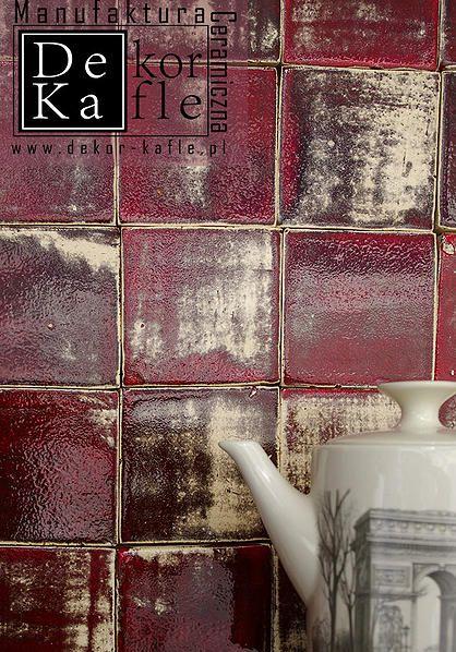 Ręcznie robione kafle ceramiczne - Industrialna czerwień, industrialne kafle