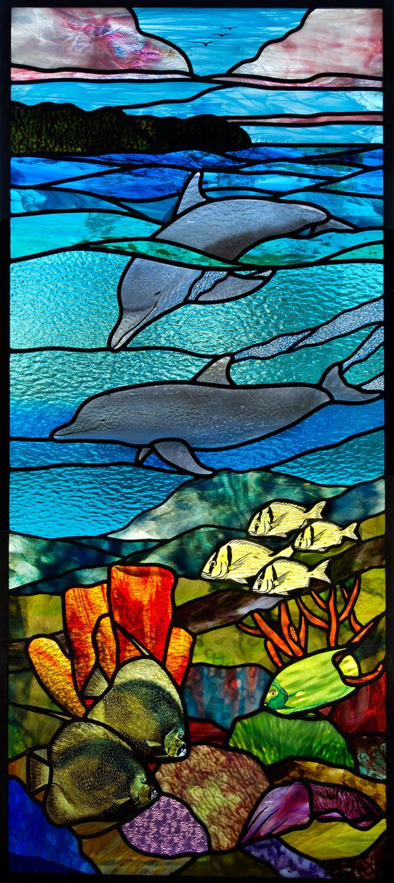 Coral Reef with Dolphin Stained Glass Door