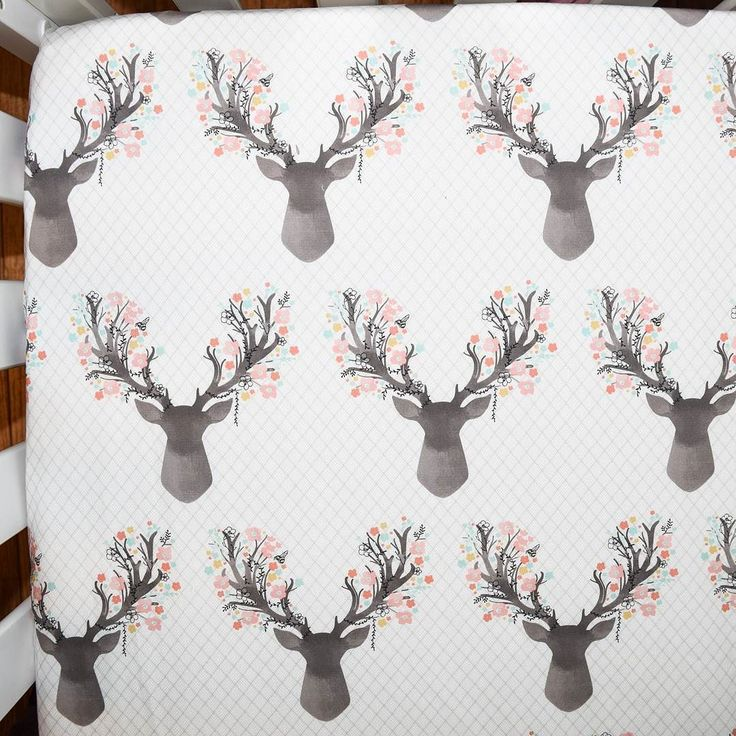 Corner shot of our stag in pink crib sheet. This fabric is so cute and would be…