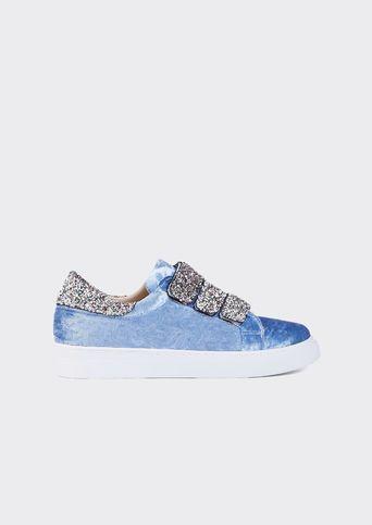 Açık Mavi Kadife Cırtcırtlı Spor Ayakkabı