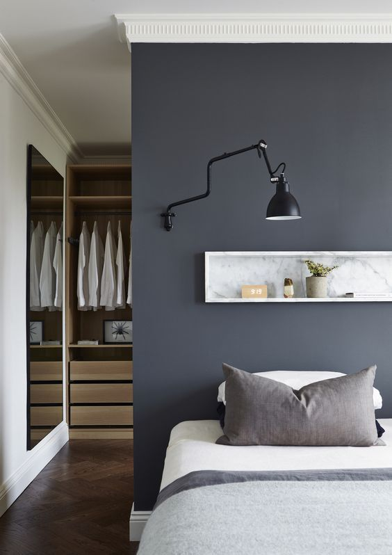 35 Masculine Bedroom Furniture Ideas That Inspire: PICTURE OF INDUSTRIAL BLACK WALL LAMP DOESN'T REQUIRE ANY