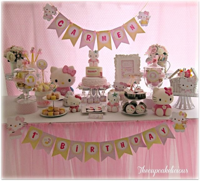 What a great Hello Kitty birthday party dessert table! See more party ideas at CatchMyParty.com #hellokitty #partyideas