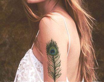 Tatuaje de plumas de pavo real, femenino tatuaje, tatuaje de pájaro, tatuaje temporal
